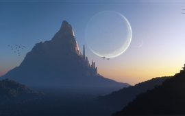 Fantasy world, art design, mountain, city, planet, spaceships, dusk