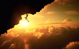 Preview wallpaper Fatal climb, silhouette, sunset, clouds, cliff, sports