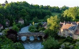 França, vila, árvores, ponte, rio, casa