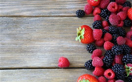 Preview wallpaper Fruit berries, raspberry, blackberry, strawberry, wood board