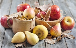 Preview wallpaper Fruits, apples, pears, leaves, wood board