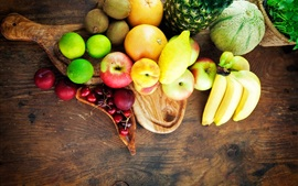 Preview wallpaper Fruits close-up, banana, apple, kiwi, plum, orange, melon, cherry