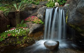 Preview wallpaper Garden, little waterfall, stones, petunia flowers, Palma