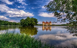 Preview wallpaper Germany, Saxony, Moritzburg, castle, lake, trees, clouds, dusk