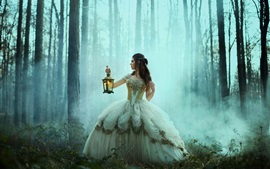 Preview wallpaper Girl in forest, lantern, retro dress, Bella Kotak