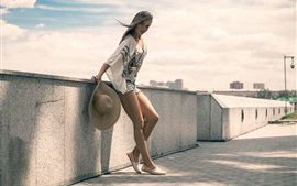 Preview wallpaper Girl in summer, denim shorts, legs
