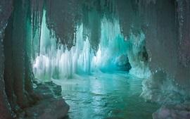 Grotto, stalactites, stalagmites, ice, cave