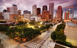 Houston, USA, city, road, skyscrapers, lights, dusk
