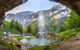 Preview wallpaper Italy beautiful nature landscape, waterfalls, mountains, pond