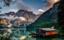 Italy, lake, house, pier, mountains, trees, clouds