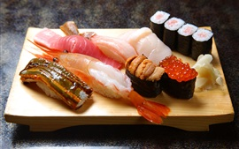 Preview wallpaper Japanese cuisine, sushi, seafood, shrimp, caviar