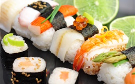 Preview wallpaper Japanese food, sushi, seafood, lime, red caviar, rice rolls