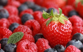 Preview wallpaper Juicy fruits, strawberries, raspberries, blueberries
