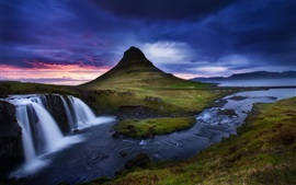 Kirkjufell volcano, mountain, waterfalls, stream, Iceland