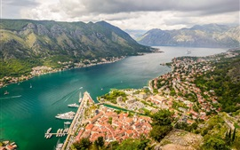 Kotor Bay, Montenegro, river, mountains, city, houses, clouds