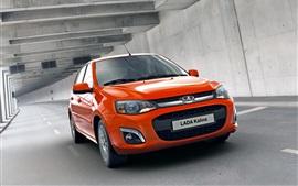 壁紙のプレビュー Lada Kalinaオレンジ色の車の速度