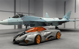 Preview wallpaper Lamborghini Egoista supercar and fighter