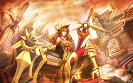 Preview wallpaper League of Legends, warrior girl, gold armor