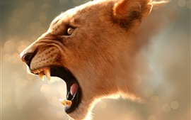 Preview wallpaper Lioness roar, head, mouth, teeth