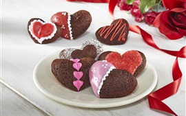 Love hearts dessert, chocolate, romantic