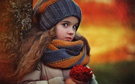 Lovely little girl in autumn, scarf, hat