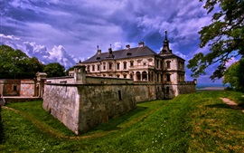 Preview wallpaper Lviv, Ukraine, Pidgirtsi village, castle, house, trees, clouds