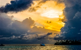 Maldives, palm trees, sea, boats, clouds, sunset, red sky