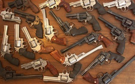 Many revolvers, weapons, guns
