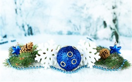 Preview wallpaper Merry Christmas, snowflakes, holidays, balls, bokeh
