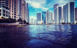Miami, Florida, USA, skyscrapers, river, water, blue sky