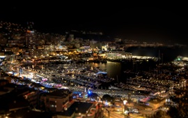 Preview wallpaper Monaco, city night, ports, yachts