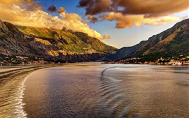 Montenegro, city, coast, mountains, clouds, dusk