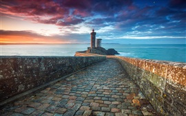 Morning sea, lighthouse, clouds, sunrise
