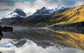Mountains, lake, water reflection, clouds, fog, dawn