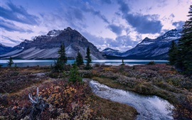 Preview wallpaper Mountains, trees, Bow Lake, Alberta, Canada, Banff National Park