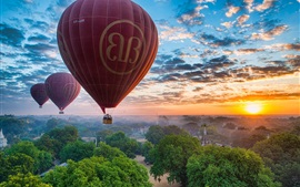 Preview wallpaper Myanmar, Bagan, trees, clouds, sky, sunset, balloons