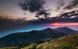Preview wallpaper National Park, Taiwan, hills, mountains, dusk, clouds, sunset