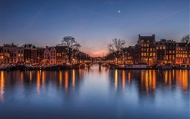 Netherlands at evening, city, houses, river, bridge, lights, moon