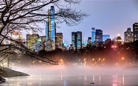 Nueva York, Manhattan, Estados Unidos, Central Park, lago, árboles, rascacielos, niebla, anochecer