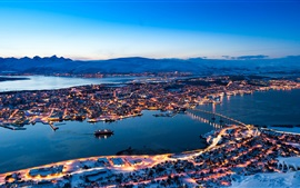 Norway, city night, houses, lights, river, bridge, snow, mountains