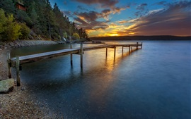 Norway sunset, shore, pier, river, forest