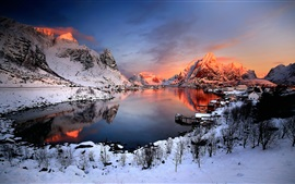 Norway sunset winter, snow, houses, lake, mountains