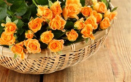 Preview wallpaper Orange rose flowers, basket