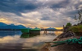 Muelle, barco, río, montañas, nubes, puesta de sol