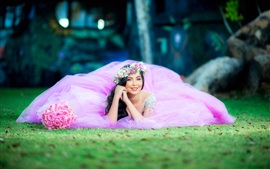Preview wallpaper Pink dress bride, smile, rose, grass ground