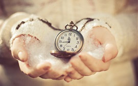 Preview wallpaper Pocket watch in hands, cold, snow