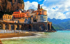 Preview wallpaper Positano, Italy, Amalfi, Italy, houses, coast, sea