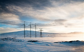 Power lines, winter, snow