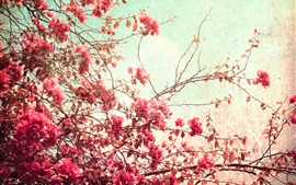 Red leaves and flowers, twigs, tree, art style