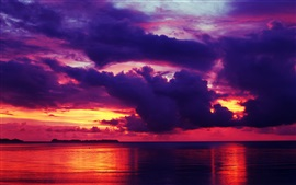 Preview wallpaper Red sky, sunset, sea, dusk
